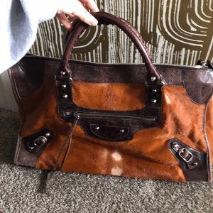 balenciaga paris brown horse hair and leather bag